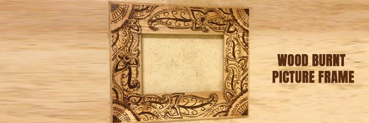 Wood burnt picture frame