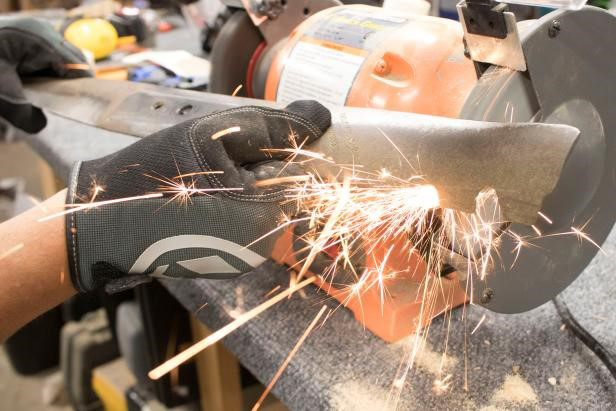 how to sharpen lawn mower blades: Use a Bench Grinder